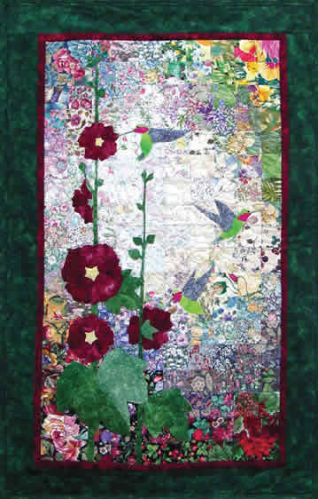 Hummingbird Amp Hollyhocks Watercolor Quilt Kit At