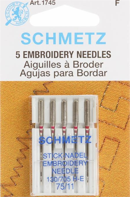 Schmetz Embroidery Sewing Machine Needles 11/75