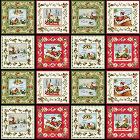 Red Rooster Christmas Bells Fabric Panel by Jennifer Chiaverini for Elm Creek Collection