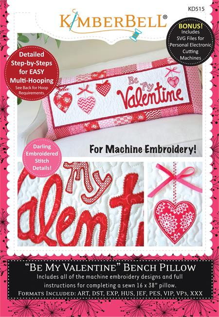 Kimberbell February Be My Valentine Bench Pillow - Machine Embroidery CD