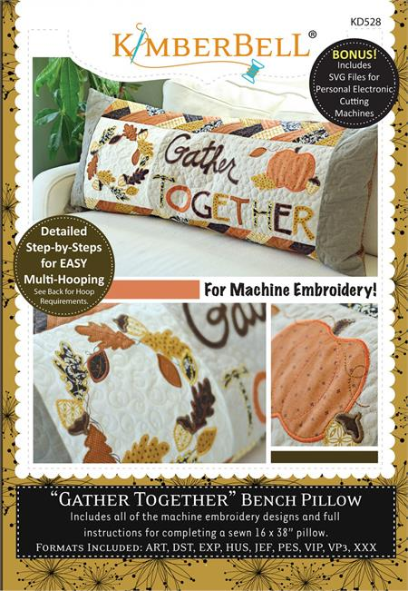 Kimberbell Bench Pillow Machine EMBROIDERY CD - November - Gather Together