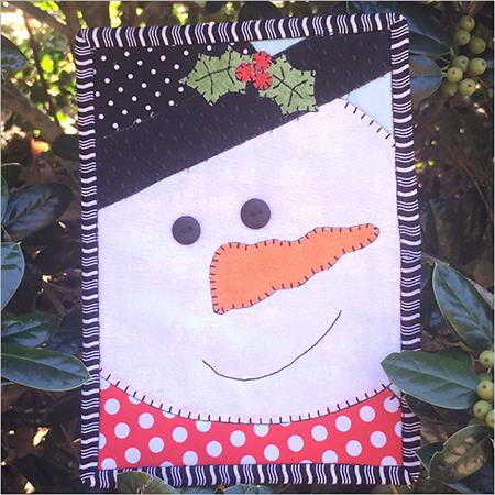 The Snowman Mug Rug Kit - Pre-cut & pre-fused Applique!