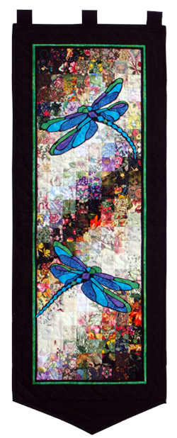 Stained Glass Dragonflies Watercolor Quilt Kit