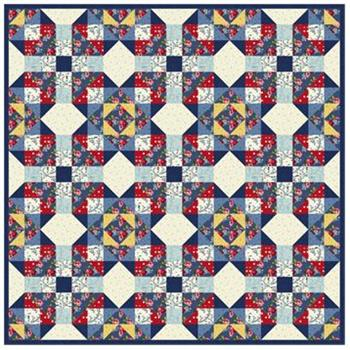 Denim and Roses Quilt Kit - Includes PRE-CUT Blocks