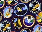 Benartex I Want My Space Fabric - Space Decals Dark Blue 58
