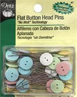 Flat BUTTON Head Pins with NO MELT Technology 50 ct