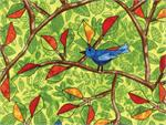 Hoffman Autumn is for Birds Fabric - Birds and Green Leaves