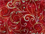 Hoffman Digital Fabric - Oh Snow - Garnet Swirl