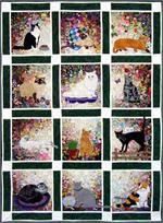 Rachel's Cat Garden Watercolor Quilt Block-of-the-Month
