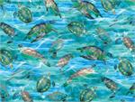 Benartex Caribbean Sea Turtles Fabric - Aquamarine
